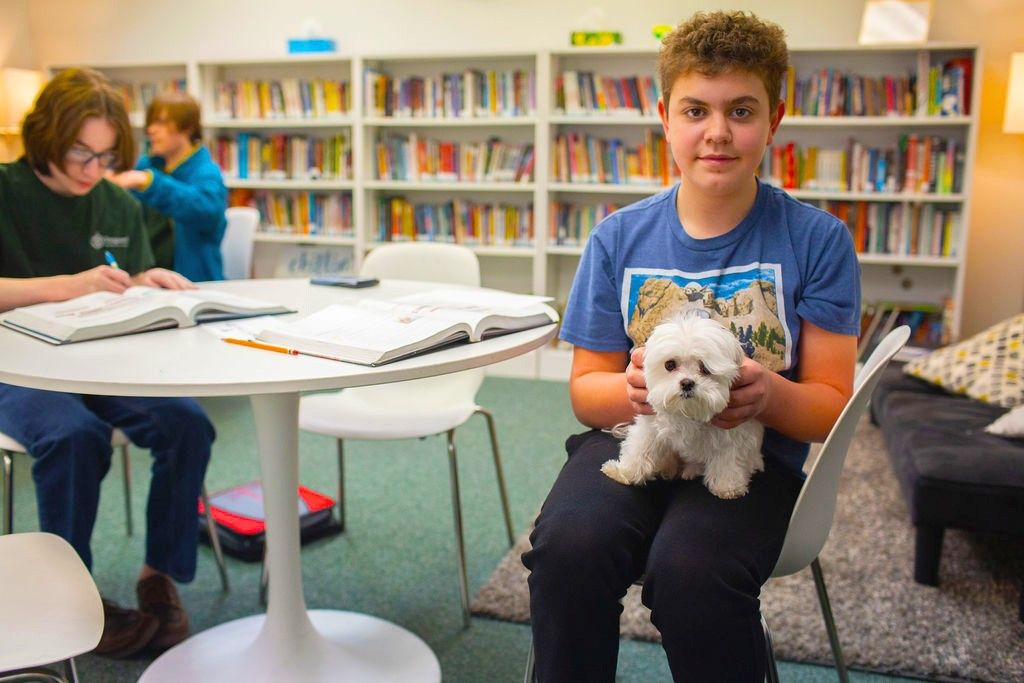 Student with Sonny in Library